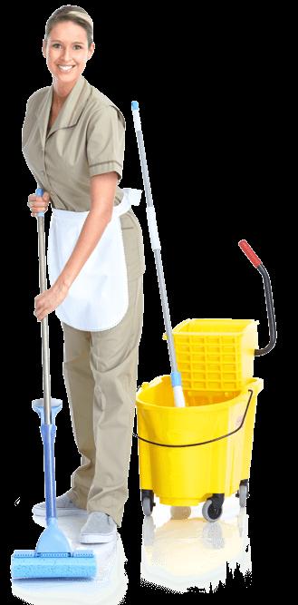 Putzfrau währende der Reinigungsarbeit